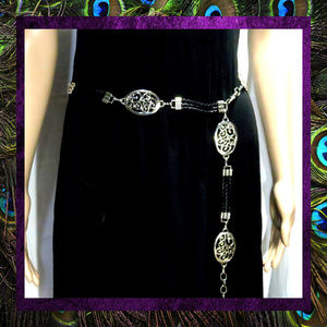 Accessories - Black Vegan Leather & Silver Metal Chain Belt